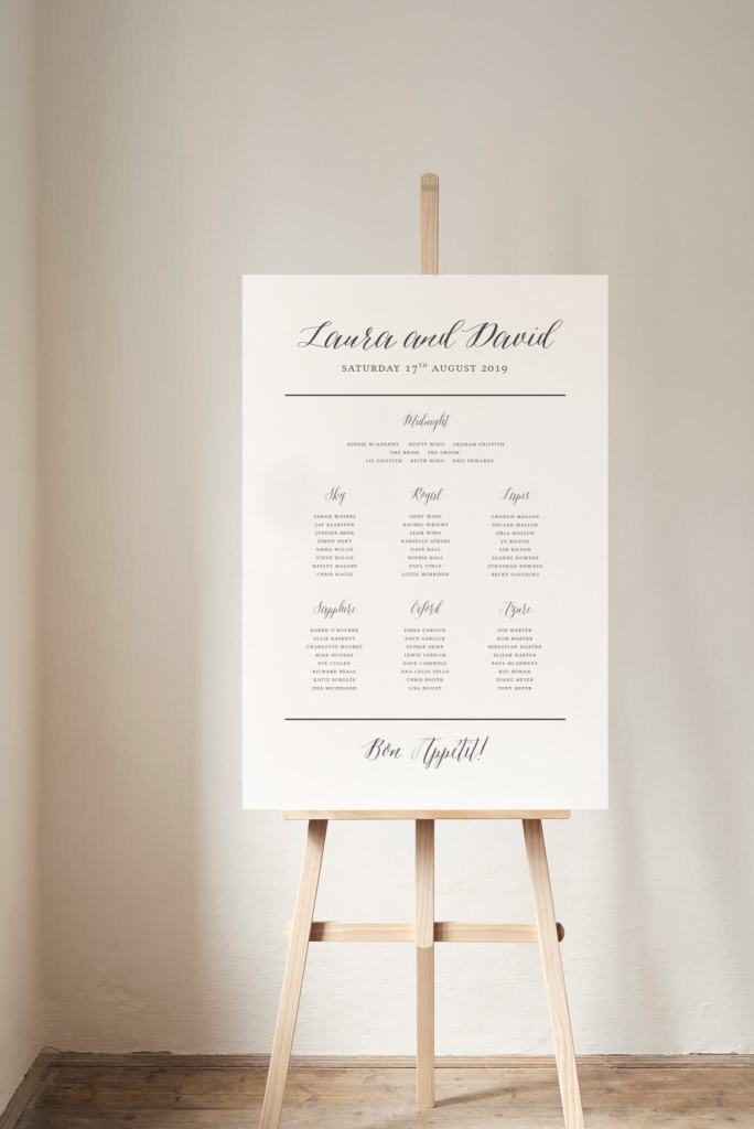 Grace calligraphy table plan