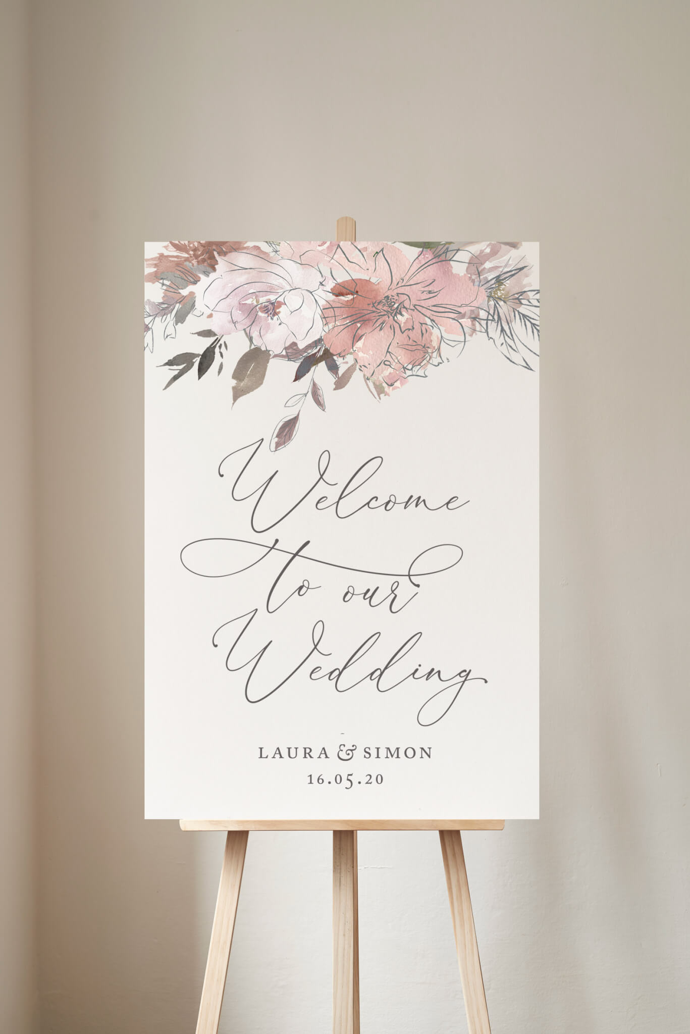 Coral Romance welcome to our wedding sign