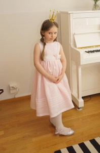 Birthday pink linen Miranda dress from Olabelhe, sewn by myself.