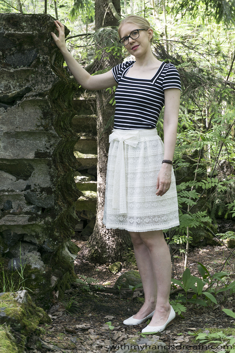 Vanessa Pouzed Wanted t-shirt and self-drafted lace skirt, front view.