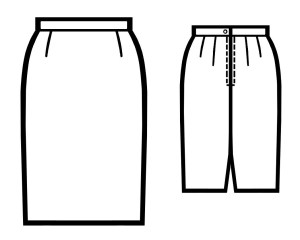 Lekala 5088 Three-seam-skirt line drawing.