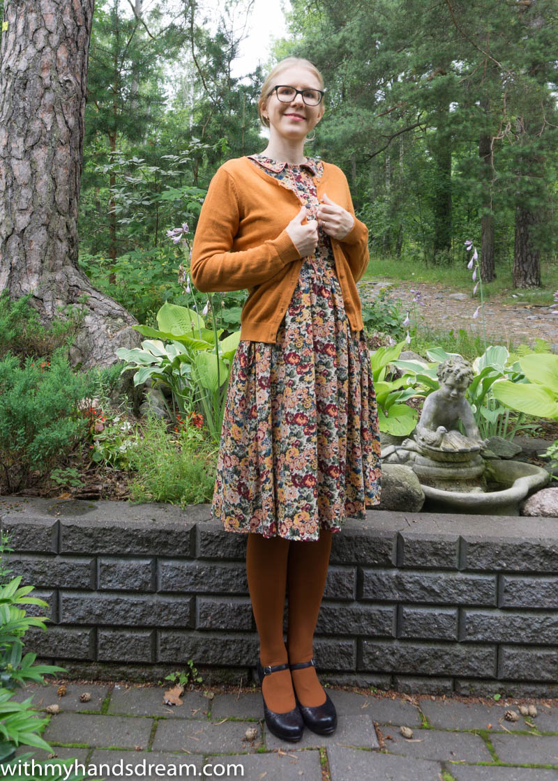 Image: My autumn dress with a cardigan.