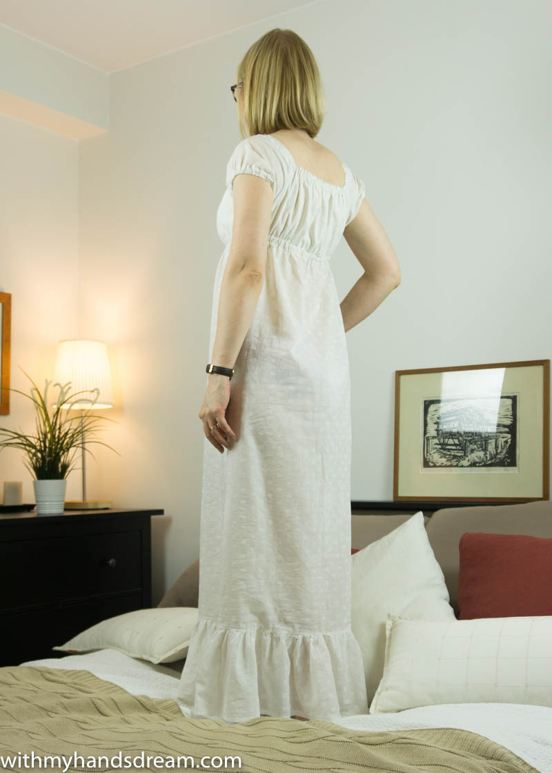 Empire-waisted cotton nightgown, back view.