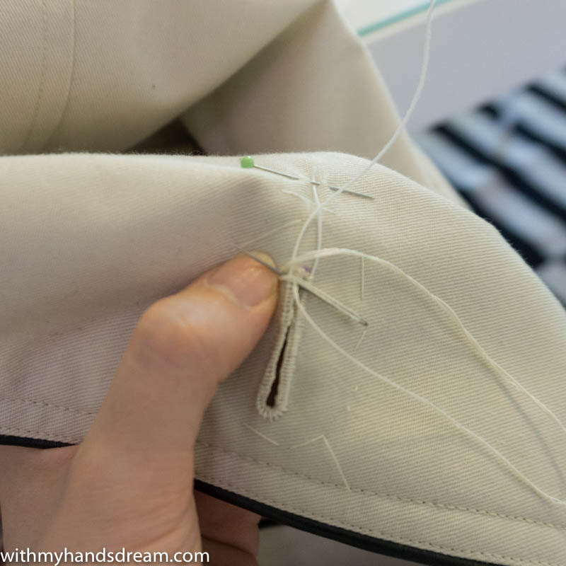 Image: Making the buttonhole stitches.