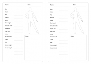 Body measurements table