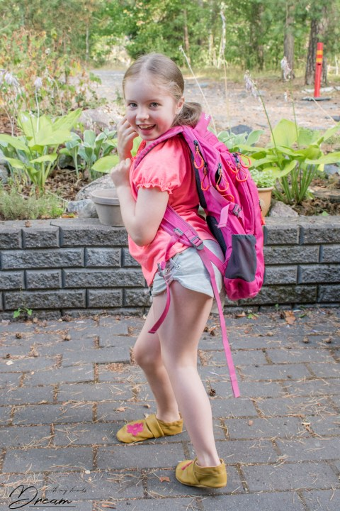 On her way to school.