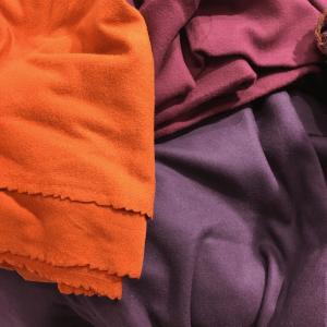 Wool fabrics in the remnant bin.