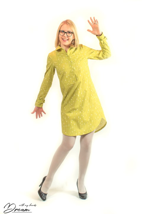 Another picture of the Helmi dress with Spoonflower.