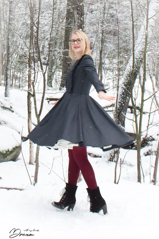 Twirling in my new wool dress that I designed.