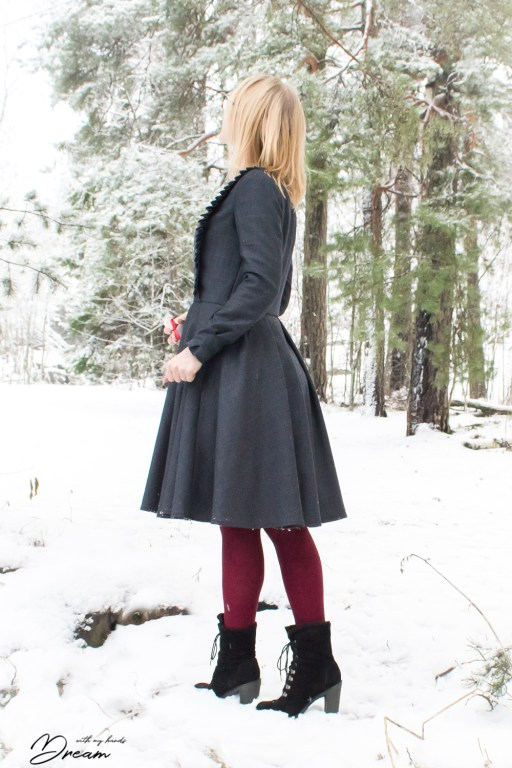 The wool dress, side view.