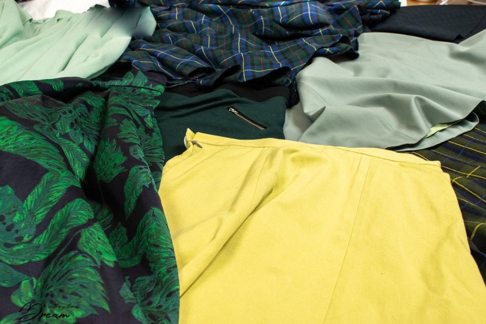 My favourite colour: Some of my green skirts that I have sewn.