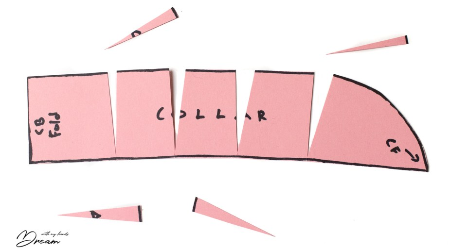 Adjusting a sewing pattern: Curving the collar.