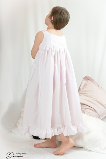 The side back view of the Hannah's nightgown.