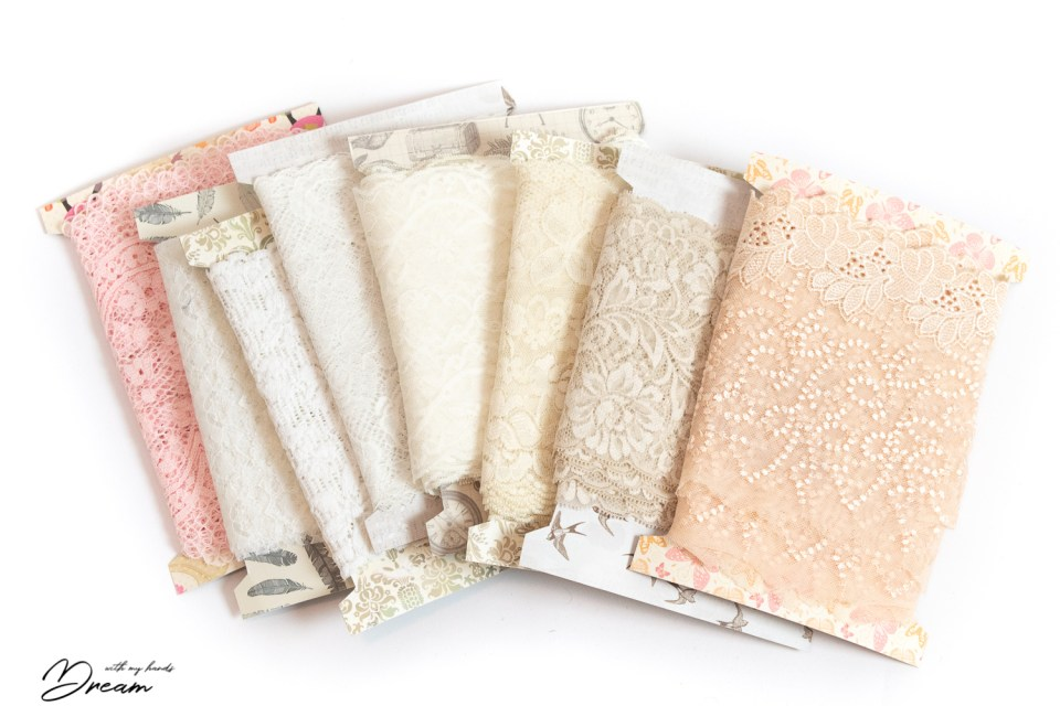 The paler colours of lace.