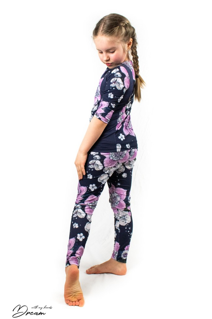 Floral sports outfit: a self-drafted top and a pair of leggings.