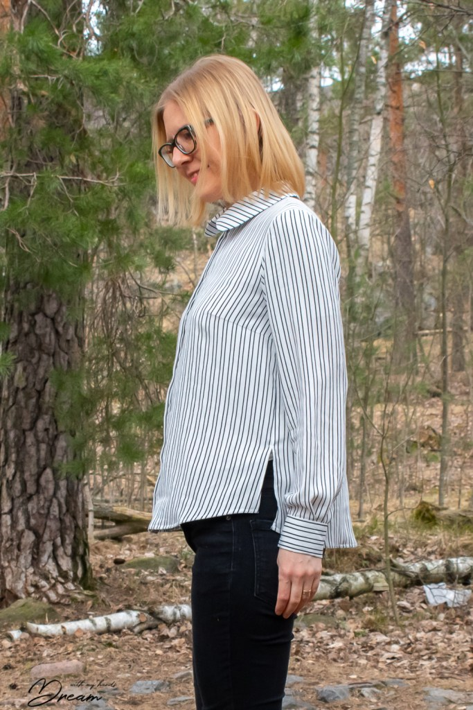 My finished Named clothing Helmi blouse from the side view.