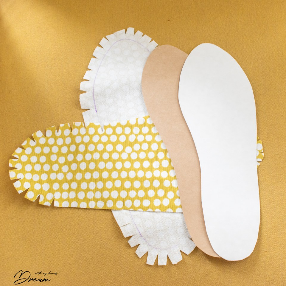 Making the insoles.