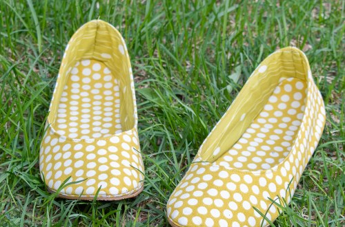 Yellow dotty ballet flats.