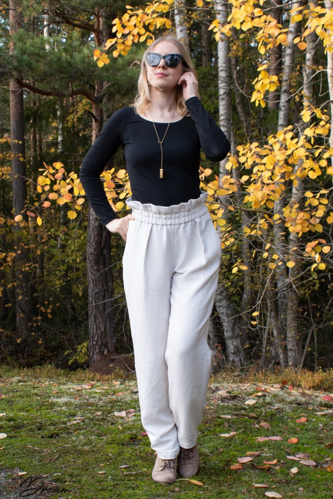 My self-drafted pair of pleated trousers.