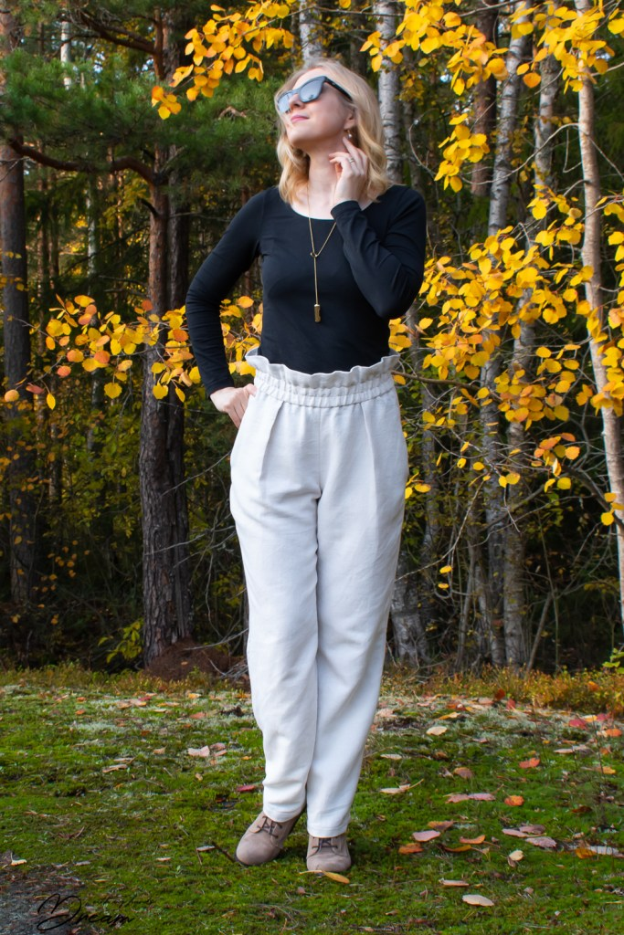 The finished pair of pleated trousers.