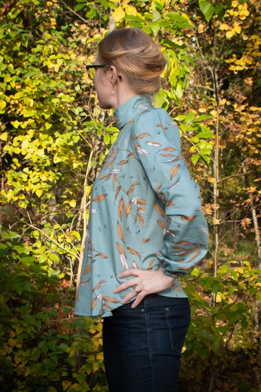 The side view of the finished blouse.