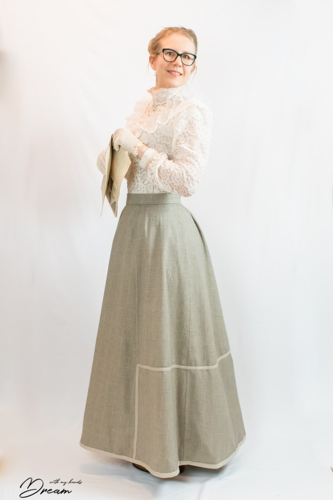 The finished 1902 walking skirt from the side view.