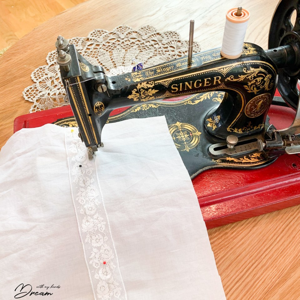 Sewing on insertion lace with my Singer 12 hand-crank machine.