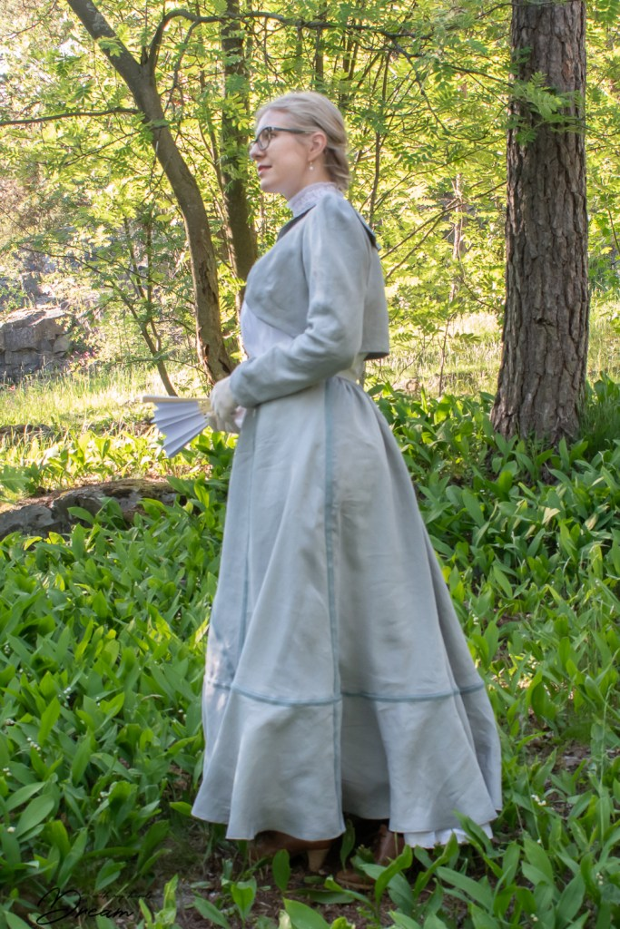 My Edwardian outfit in blue, side view.