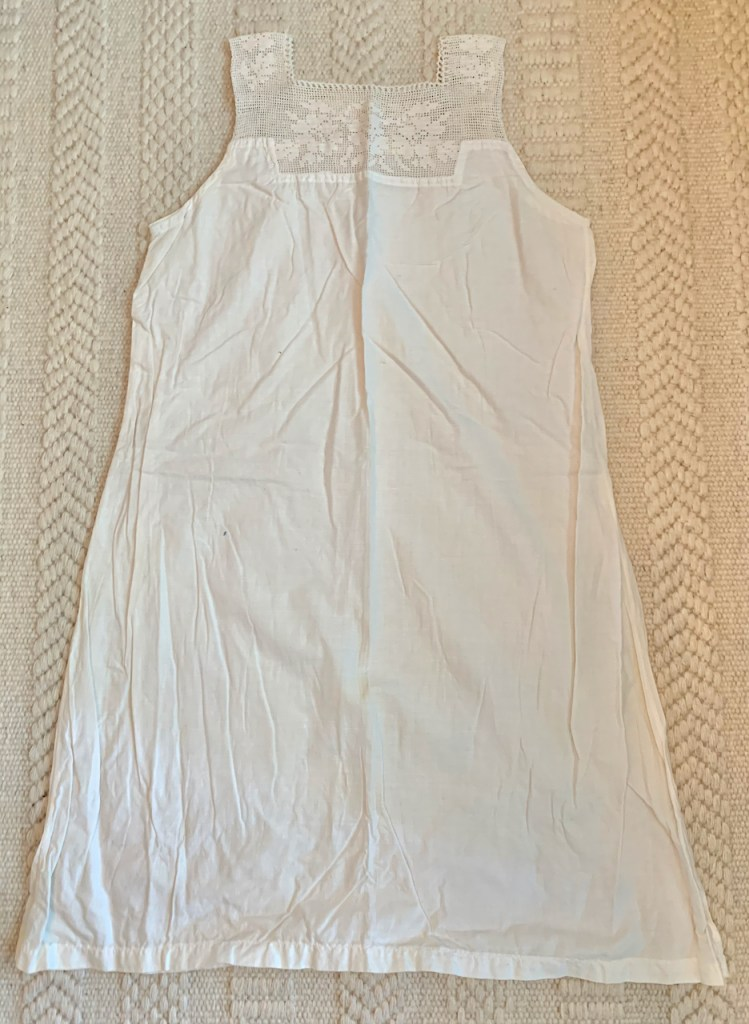 Antique underwear: A chemise with a crochet yoke.