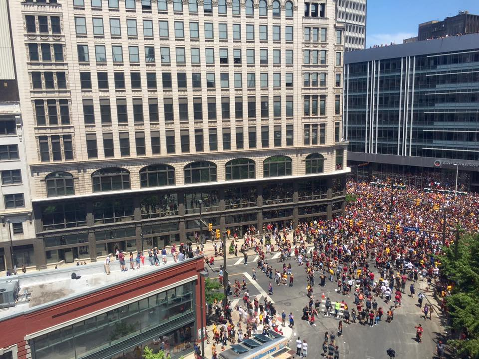 Aerial view of the Cleveland Cavaliers championship parade