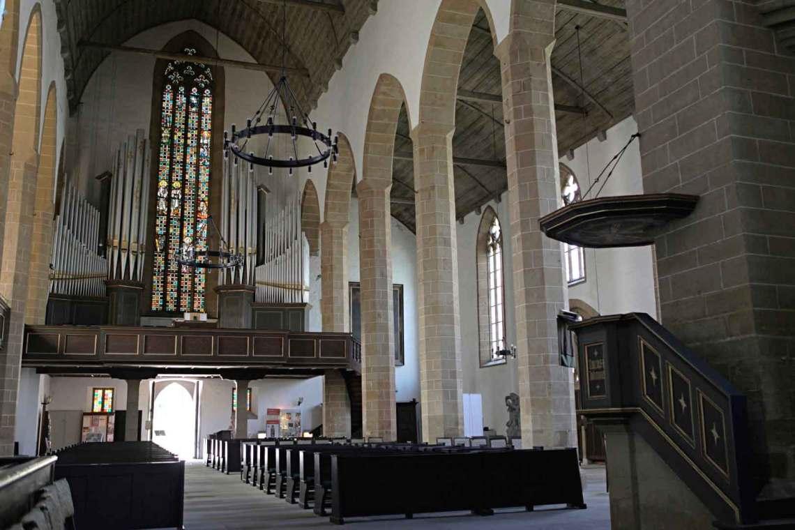 Inside Kaufmannskirche in Erfurt, Germany