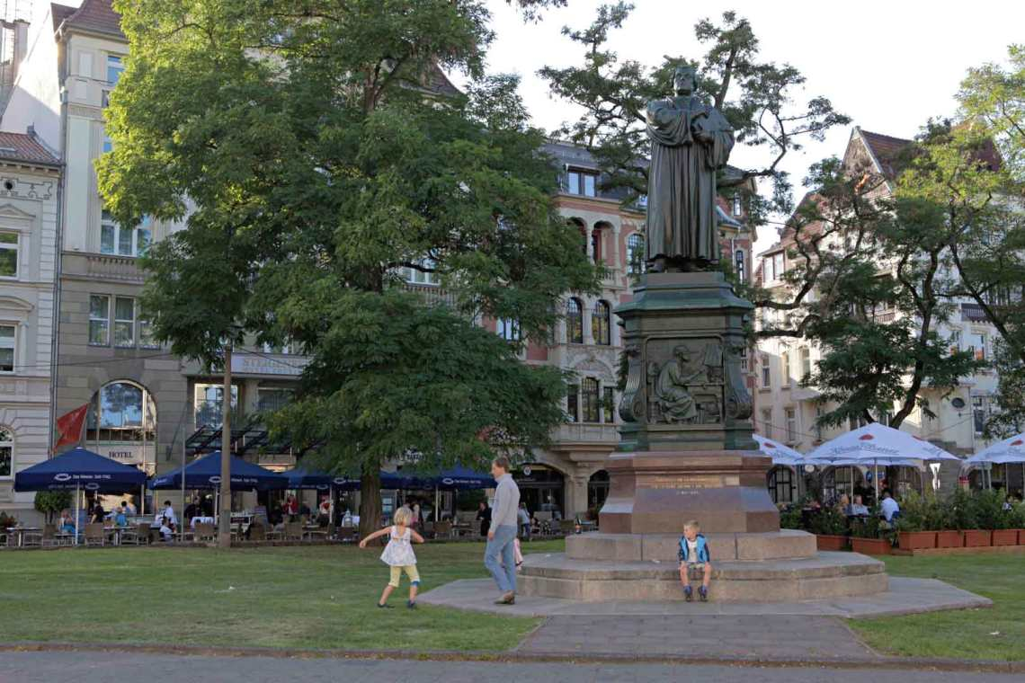 Martin Luther statue in Eisenach, Germany