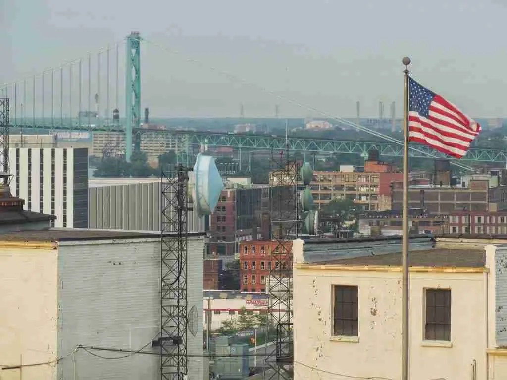 Detroit American Flag from Westin Cadillac Detroit Hotel