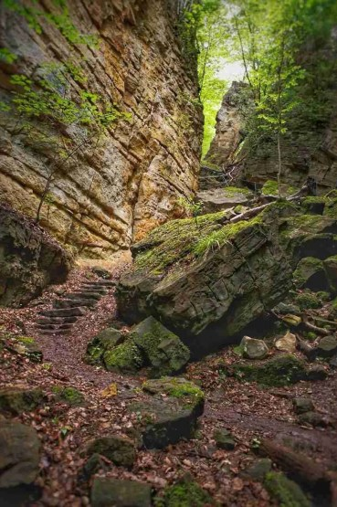 Steps on a Mullerthal Luxembourg Hiking Trail