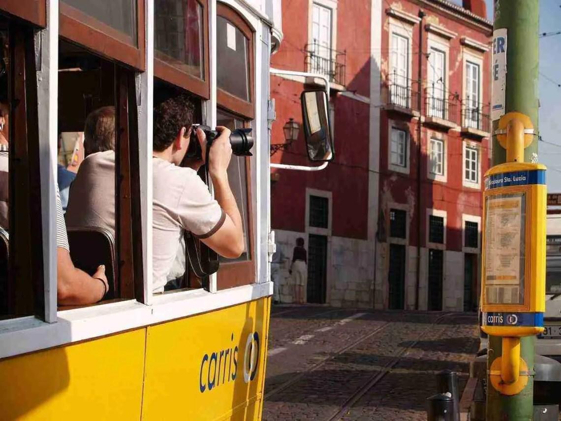 Lisbon Streetcar Tourists