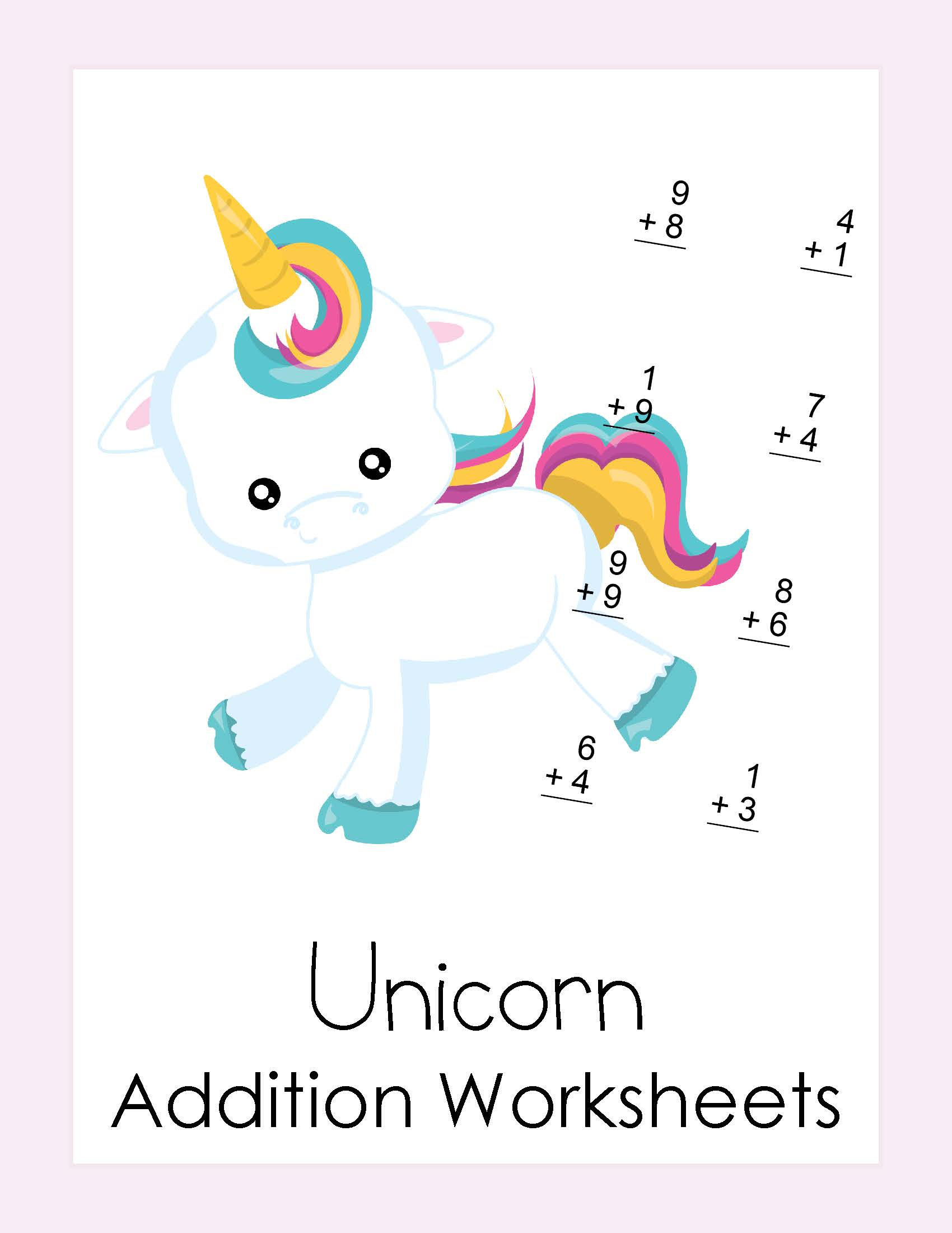 Free Addition Worksheets With A Unicorn Theme