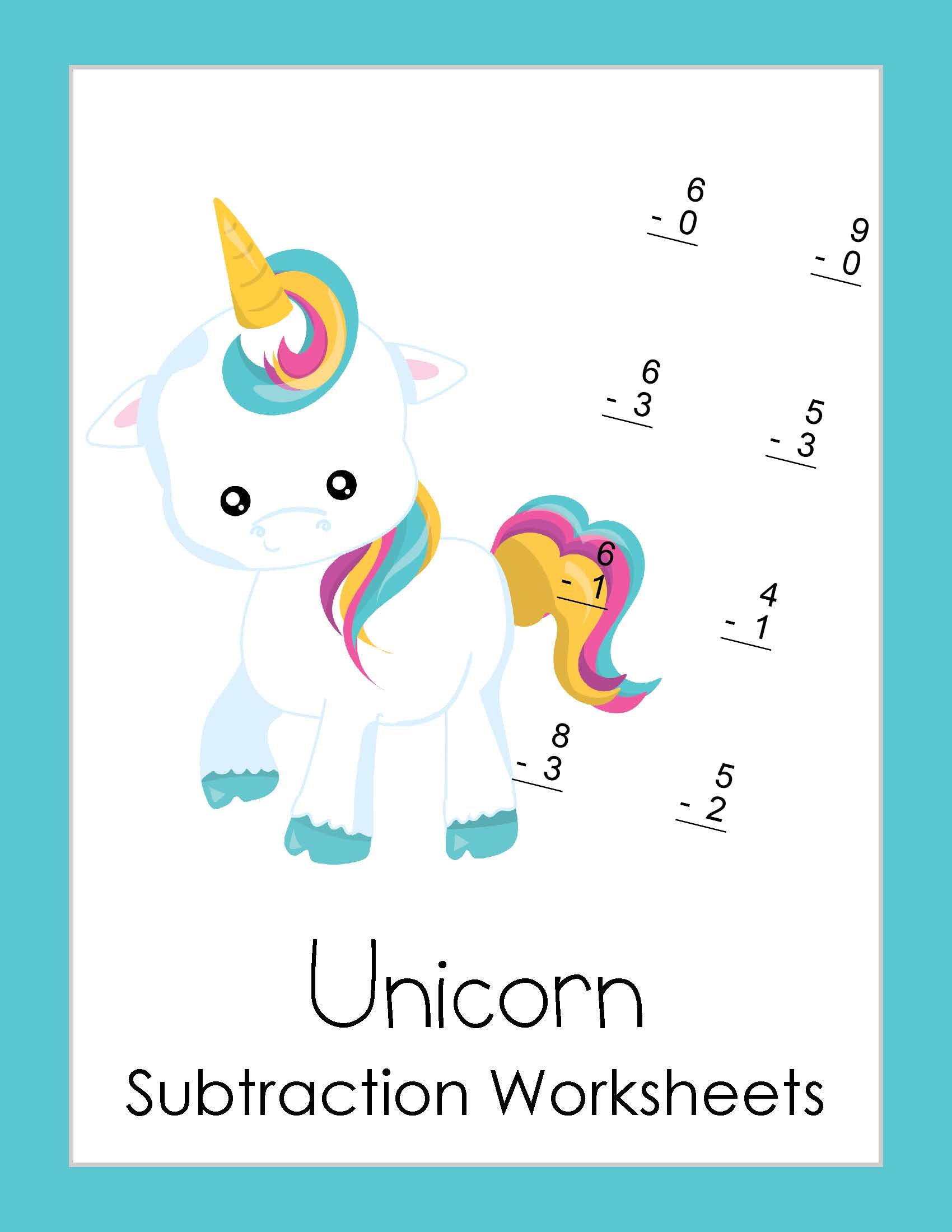 Free Subtraction Worksheets With A Unicorn Theme