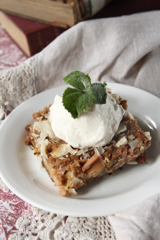 Rhubarb Crisp and Whipped Cream