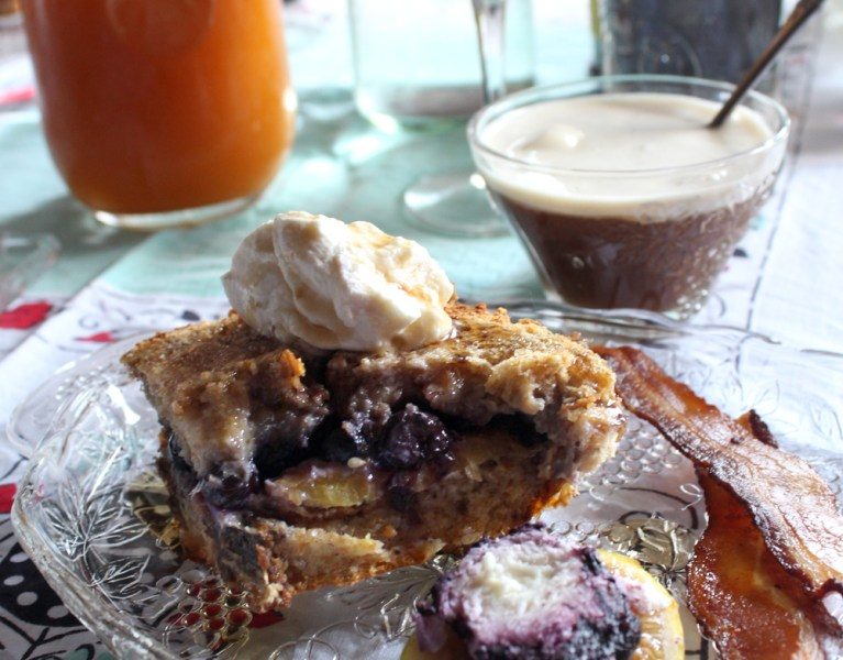 Brunch With Bess & Dane (Baked Blueberry & Nectarine French Toast)