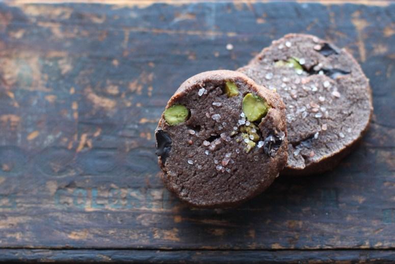 Chocolate Sables with Pistachios & Pink Himalayan Sea Salt