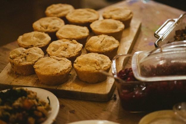 Mini Pot Pies and Cranberry Sauce