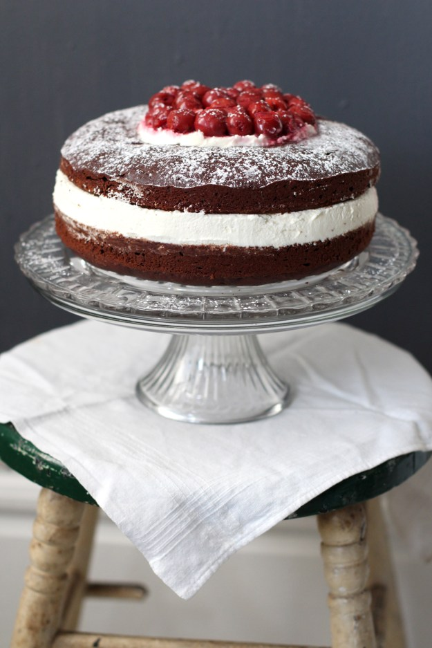 Cherry Topped Chocolate Cake