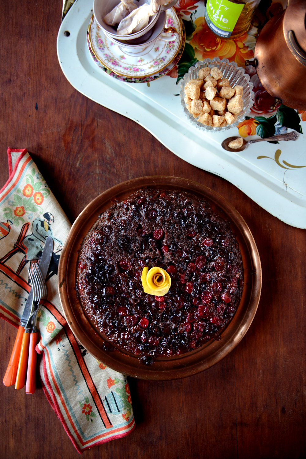 Chocolate Cranberry Upside Down Cake w/ @WigleWhiskey