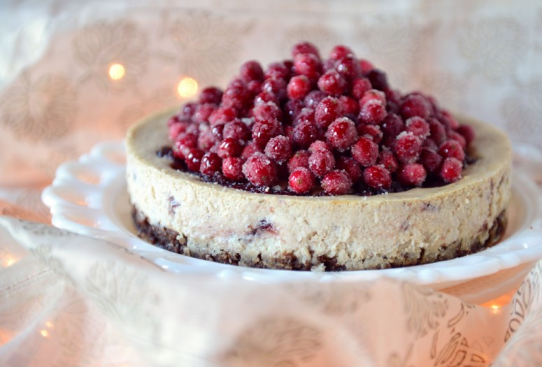 Cranberry Eggnog Cheesecake with a Whole Wheat Brownie Crust