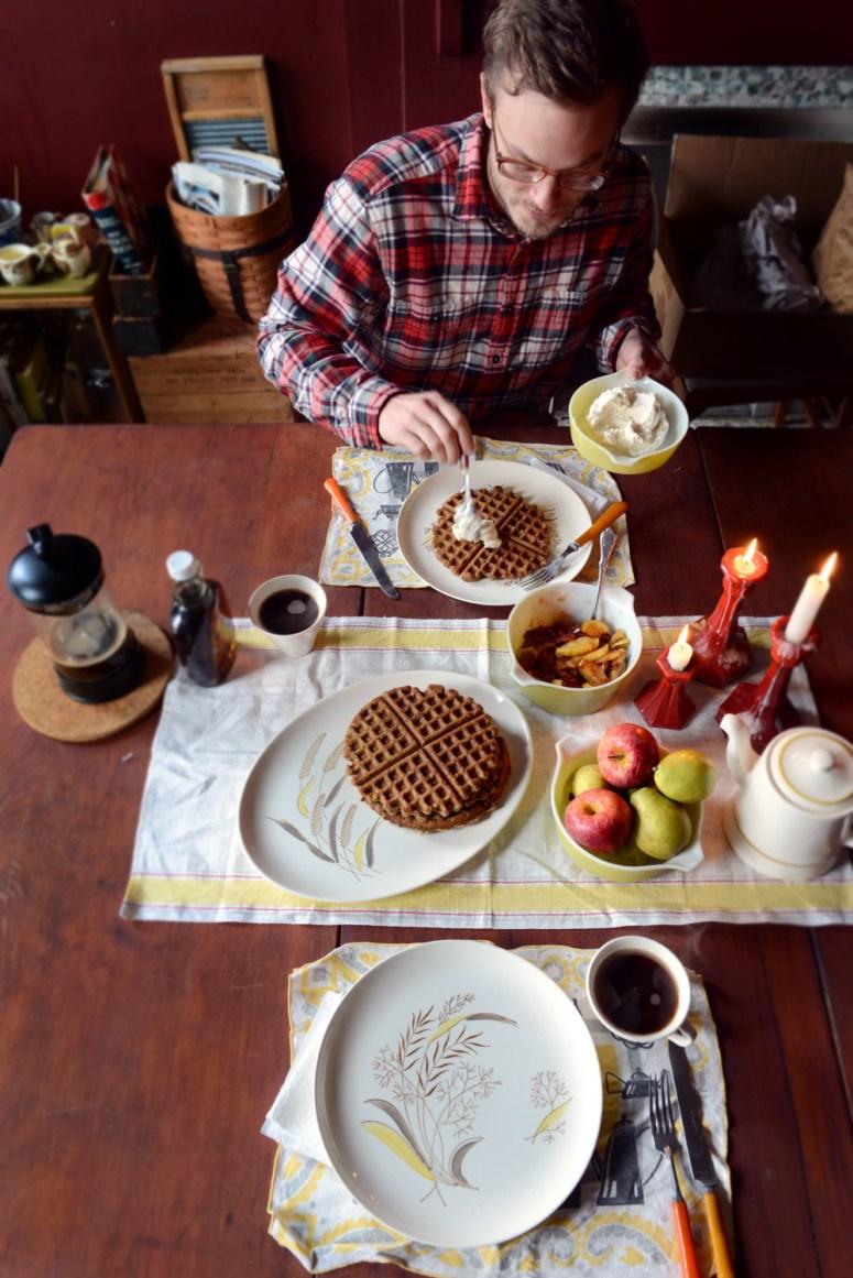 Pumpkin-Cranberry Buckwheat Waffles w/ @WigleWhiskey Landlocked Spiced