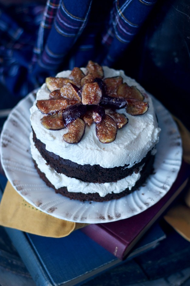 Fig and Wine Chocolate Cake by With The Grains