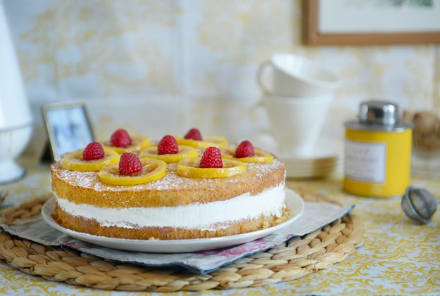Whole Wheat Lemon Layer Cake with Lemon Rosemary Syrup and Candied Lemons // www. WithTheGrains.com