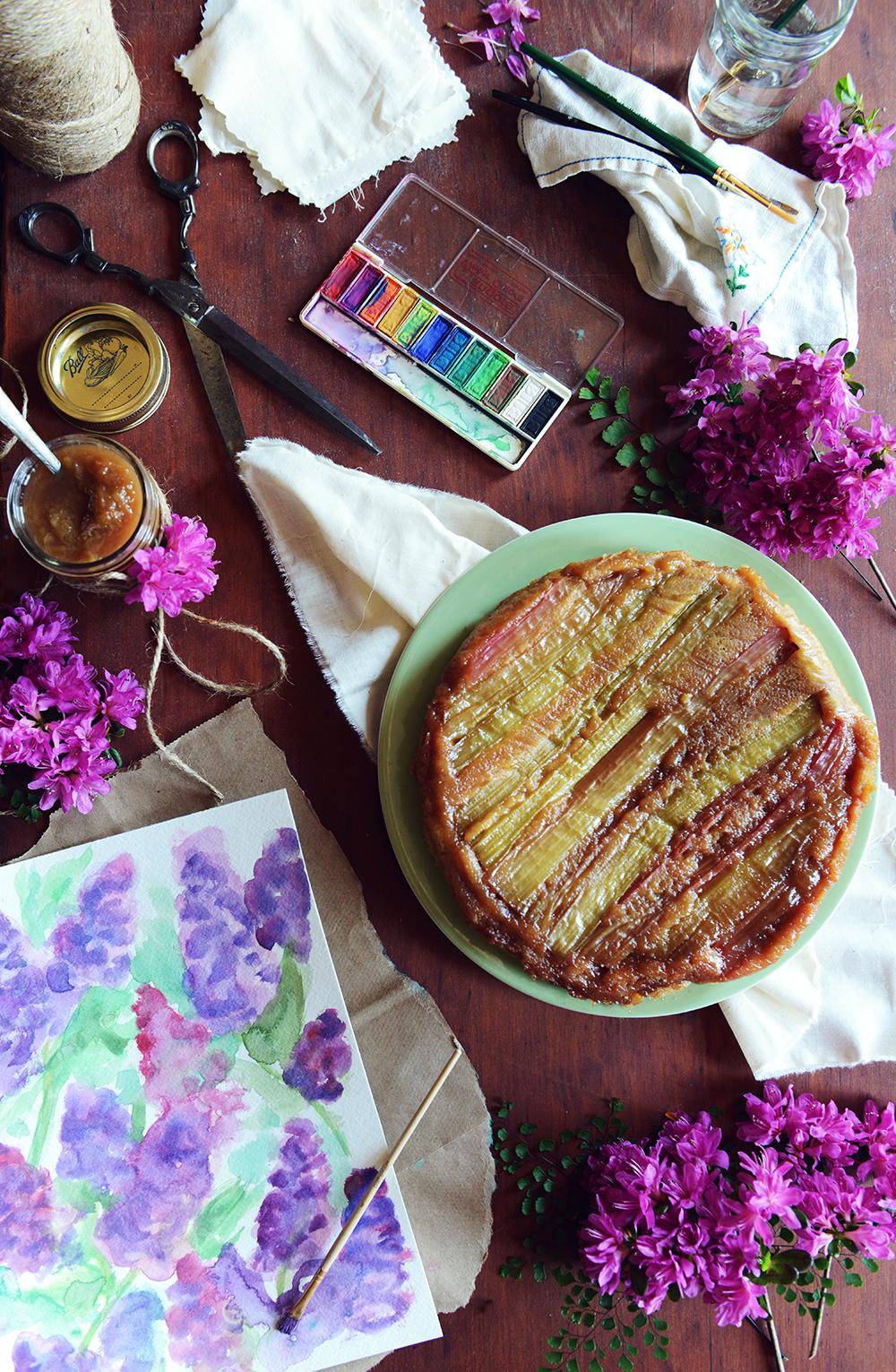 Whole Wheat Rhubarb Upside Down Cake and Rhubarb Compote // www.WithTheGrains.com