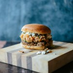 Beet & Beef Burgers w/ Blue Cheese and Roasted Peach & Mint Salsa