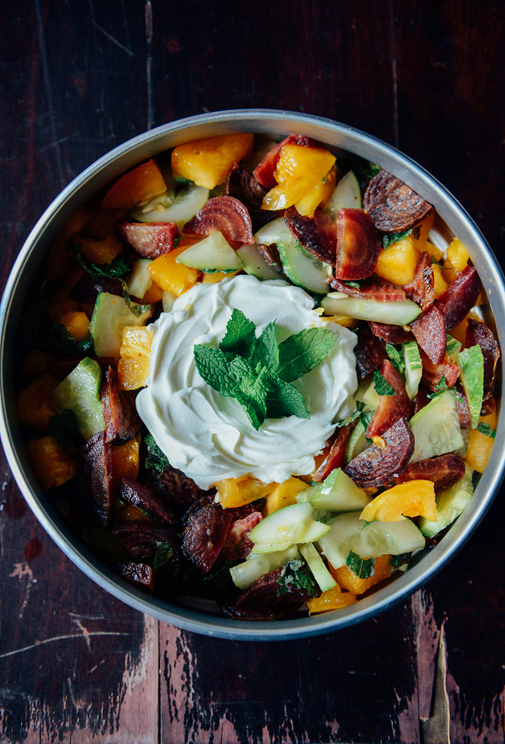 Farm Scenes + Roasted Beet, Cucumber, Mint & Heirloom Tomato Salad // www.WithTheGrains.com